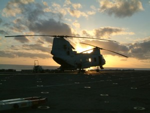 CH 46 at sunset